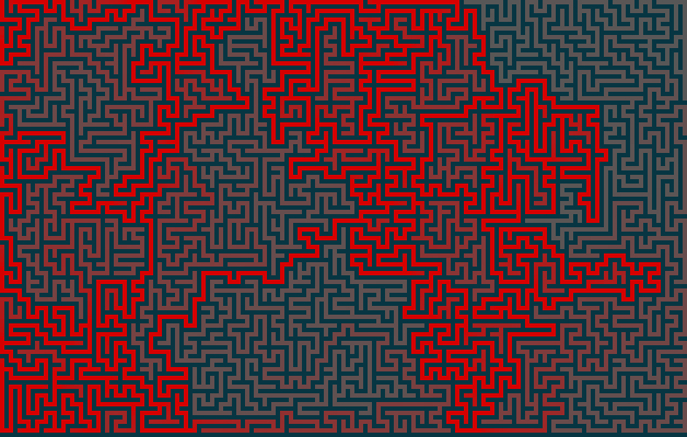 maze shaded based on the solution with the backtracker algorithm